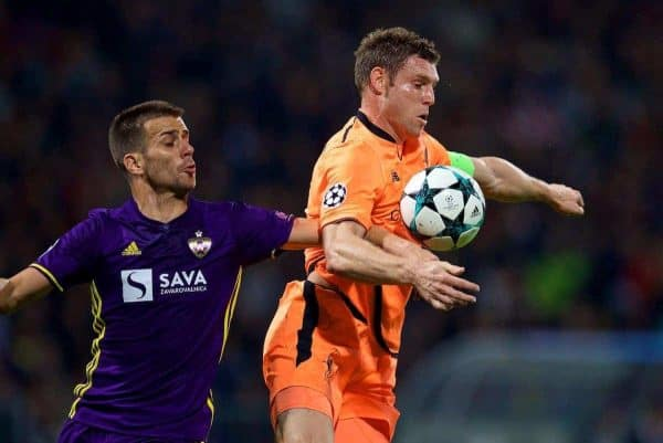 Liverpool's James Milner during the UEFA Champions League Group E match between NK Maribor and Liverpool at the Stadion Ljudski vrt. (Pic by David Rawcliffe/Propaganda)