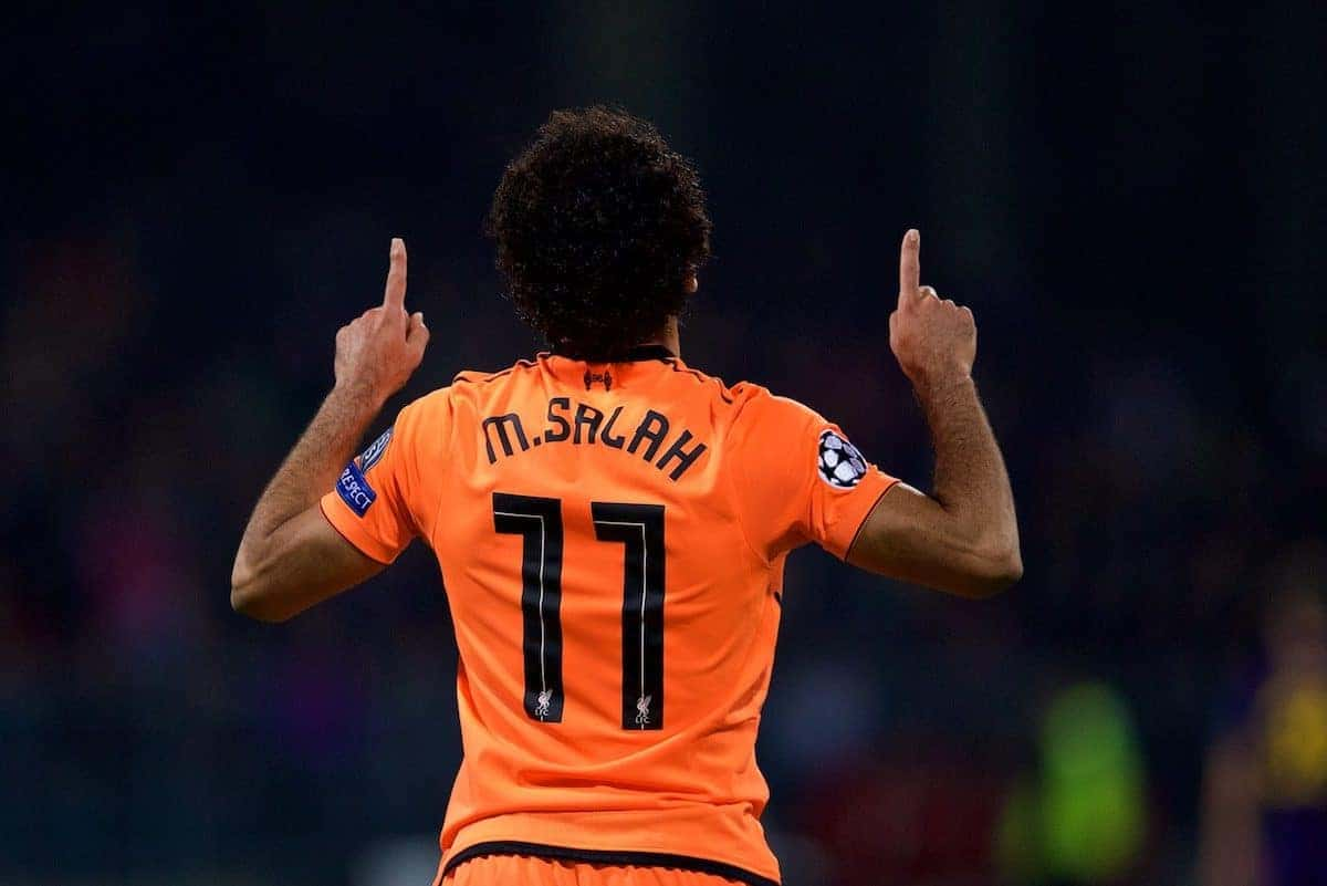 MARIBOR, SLOVENIA - Tuesday, October 17, 2017: Liverpool's Mohamed Salah celebrates scoring the fourth goal during the UEFA Champions League Group E match between NK Maribor and Liverpool at the Stadion Ljudski vrt. (Pic by David Rawcliffe/Propaganda)