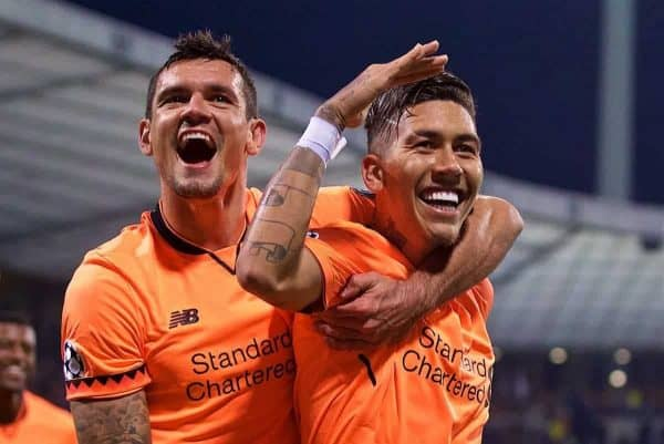 Liverpool's Roberto Firmino celebrates scoring the fifth goal with team-mate Dejan Lovren during the UEFA Champions League Group E match between NK Maribor and Liverpool at the Stadion Ljudski vrt. (Pic by David Rawcliffe/Propaganda)