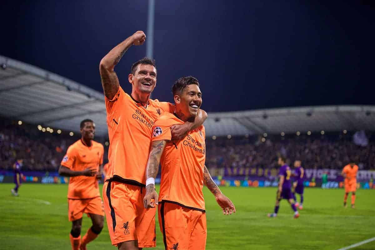 MARIBOR, SLOVENIA - Tuesday, October 17, 2017: Liverpool's Roberto Firmino celebrates scoring the fifth goal with team-mate Dejan Lovren during the UEFA Champions League Group E match between NK Maribor and Liverpool at the Stadion Ljudski vrt. (Pic by David Rawcliffe/Propaganda)