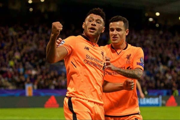 MARIBOR, SLOVENIA - Tuesday, October 17, 2017: Liverpool's Alex Oxlade-Chamberlain celebrates scoring the sixth goal during the UEFA Champions League Group E match between NK Maribor and Liverpool at the Stadion Ljudski vrt. (Pic by David Rawcliffe/Propaganda)