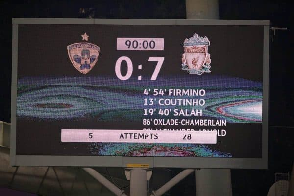 MARIBOR, SLOVENIA - Tuesday, October 17, 2017: The scoreboard records Liverpool's 7-0 victory during the UEFA Champions League Group E match between NK Maribor and Liverpool at the Stadion Ljudski vrt. (Pic by David Rawcliffe/Propaganda)