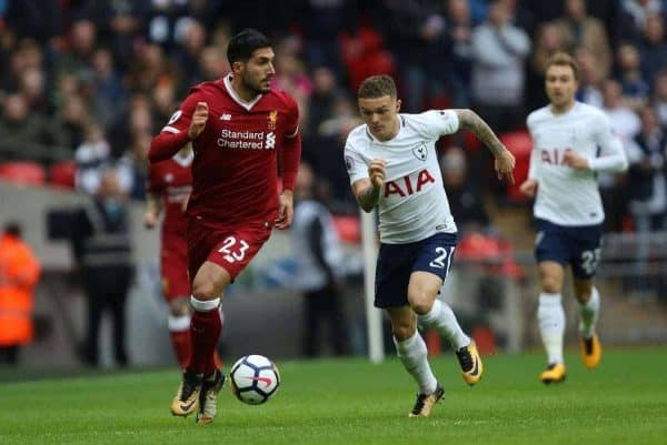 LONDON, ENGLAND - Sunday, October 22, 2017: Emre Can (L) Kieran Trippier (TH) during the FA Premier League match between Tottenham Hotspur and Liverpool at Wembley Stadium. (Pic by Paul Marriott/Propaganda)