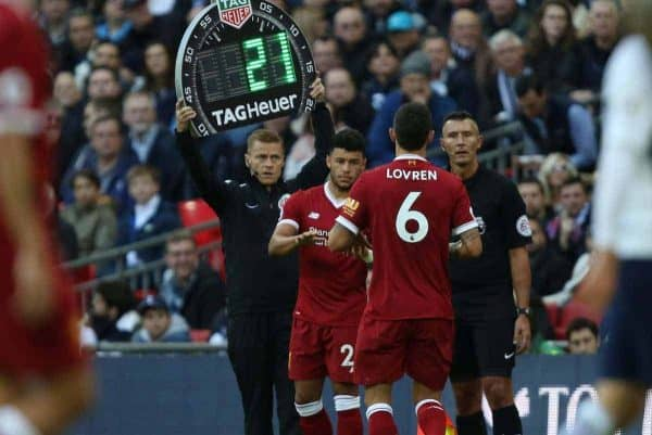 LONDON, ENGLAND - Sunday, October 22, 2017: Alex Oxlade-Chamberlain (L) replaces Dejan Lovren (L) during the FA Premier League match between Tottenham Hotspur and Liverpool at Wembley Stadium. (Pic by Paul Marriott/Propaganda)