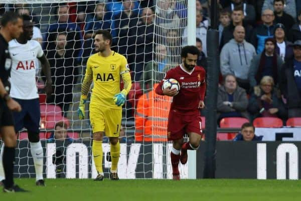 LONDON, ENGLAND - Sunday, October 22, 2017: Mohamed Salah (L) runs past Hugo Lloris (TH) after scoring the first Liverpool goal during the FA Premier League match between Tottenham Hotspur and Liverpool at Wembley Stadium. (Pic by Paul Marriott/Propaganda)