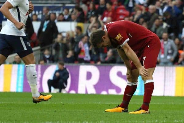 LONDON, ENGLAND - Sunday, October 22, 2017: James Milner (L) dejection during the FA Premier League match between Tottenham Hotspur and Liverpool at Wembley Stadium. (Pic by Paul Marriott/Propaganda)