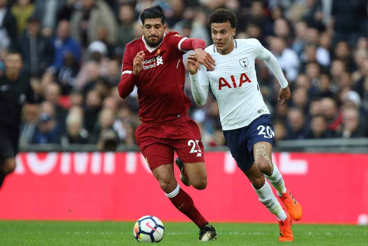 LONDON, ENGLAND - Sunday, October 22, 2017: Emre Can (L) Dele Alli (TH) during the FA Premier League match between Tottenham Hotspur and Liverpool at Wembley Stadium. (Pic by Paul Marriott/Propaganda)