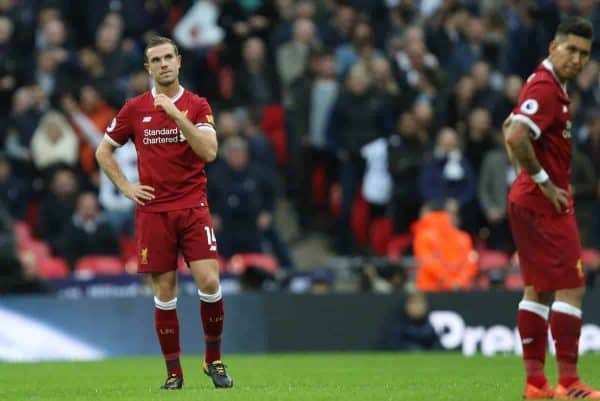 LONDON, ENGLAND - Sunday, October 22, 2017: Jordan Henderson (L) dejection during the FA Premier League match between Tottenham Hotspur and Liverpool at Wembley Stadium. (Pic by Paul Marriott/Propaganda)