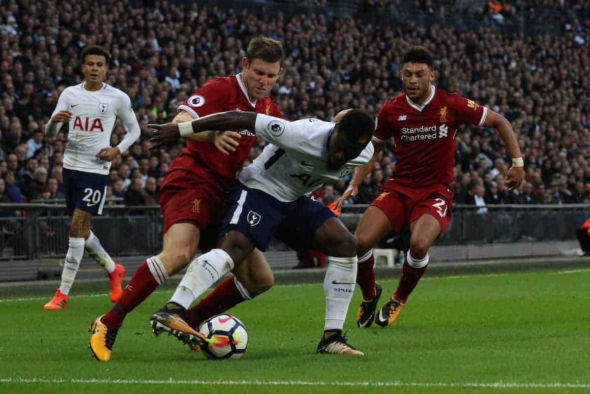 LONDON, ENGLAND - Sunday, October 22, 2017: James Milner (L) Serge Aurier (TH) Alex Oxlade-Chamberlain (L) during the FA Premier League match between Tottenham Hotspur and Liverpool at Wembley Stadium. (Pic by Paul Marriott/Propaganda)
