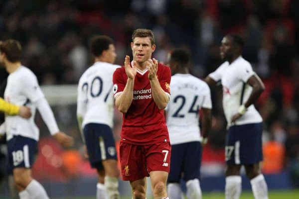 James Milner (L) applauds the Liverpool fans at the end of the FA Premier League match between Tottenham Hotspur and Liverpool at Wembley Stadium. (Pic by Paul Marriott/Propaganda)