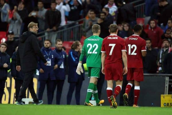 LONDON, ENGLAND - Sunday, October 22, 2017: Jurgen Klopp (Liverpool manager), Simon Mignolet (L), James Milner (L), Joe Gomez (L) walk off at the end of the FA Premier League match between Tottenham Hotspur and Liverpool at Wembley Stadium. (Pic by Paul Marriott/Propaganda)