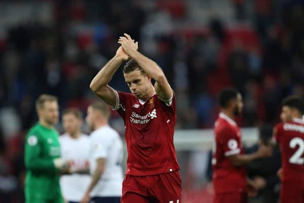 LONDON, ENGLAND - Sunday, October 22, 2017: Jordan Henderson (L) applauds the fans at the end of the FA Premier League match between Tottenham Hotspur and Liverpool at Wembley Stadium. (Pic by Paul Marriott/Propaganda)