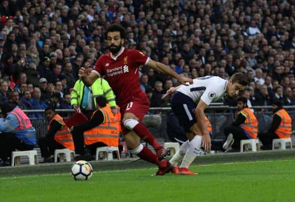 LONDON, ENGLAND - Sunday, October 22, 2017: Mohamed Salah (L) Harry Winks (TH) during the FA Premier League match between Tottenham Hotspur and Liverpool at Wembley Stadium. (Pic by Paul Marriott/Propaganda)
