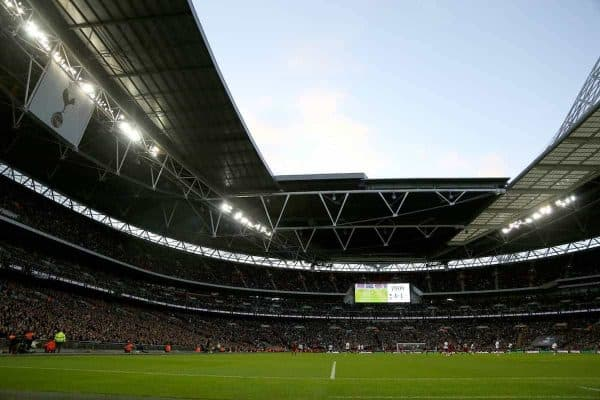 LONDON, ENGLAND - Sunday, October 22, 2017: The biggest crowd for a FA Premier League game during the FA Premier League match between Tottenham Hotspur and Liverpool at Wembley Stadium. (Pic by Paul Marriott/Propaganda)
