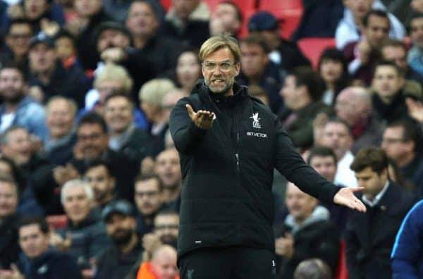 LONDON, ENGLAND - Sunday, October 22, 2017: Jurgen Klopp (Liverpool manager) during the FA Premier League match between Tottenham Hotspur and Liverpool at Wembley Stadium. (Pic by Paul Marriott/Propaganda)