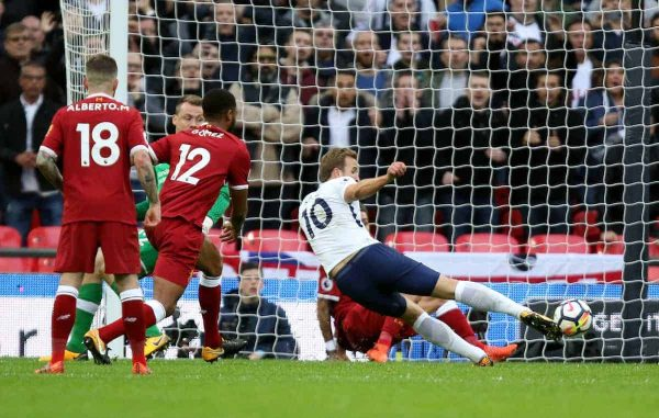 LONDON, ENGLAND - Sunday, October 22, 2017: Harry Kane (TH) scores the fourth Spurs goal during the FA Premier League match between Tottenham Hotspur and Liverpool at Wembley Stadium. (Pic by Paul Marriott/Propaganda)