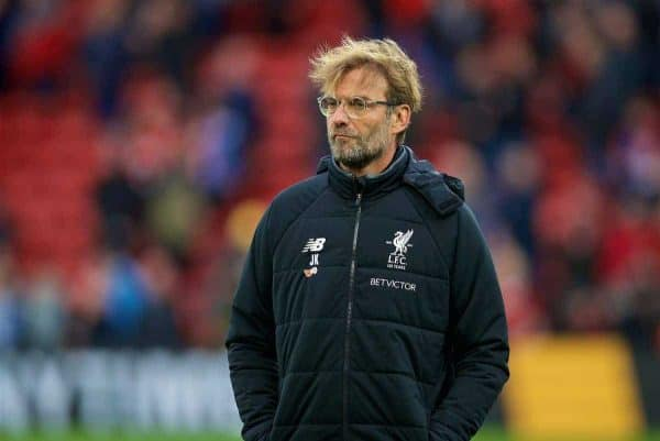 LIVERPOOL, ENGLAND - Saturday, October 28, 2017: Liverpool's manager Jürgen Klopp before the FA Premier League match between Liverpool and Huddersfield Town at Anfield. (Pic by David Rawcliffe/Propaganda)