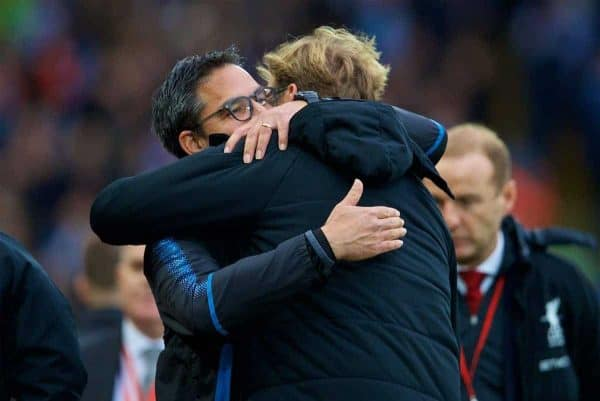 LIVERPOOL, ENGLAND - Saturday, October 28, 2017: Liverpool's manager Jürgen Klopp embraces Huddersfield Town's manager David Wagner before the FA Premier League match between Liverpool and Huddersfield Town at Anfield. (Pic by David Rawcliffe/Propaganda)
