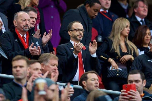 LIVERPOOL, ENGLAND - Saturday, October 28, 2017: Liverpool's Director Michael Gordon during the FA Premier League match between Liverpool and Huddersfield Town at Anfield. (Pic by David Rawcliffe/Propaganda)
