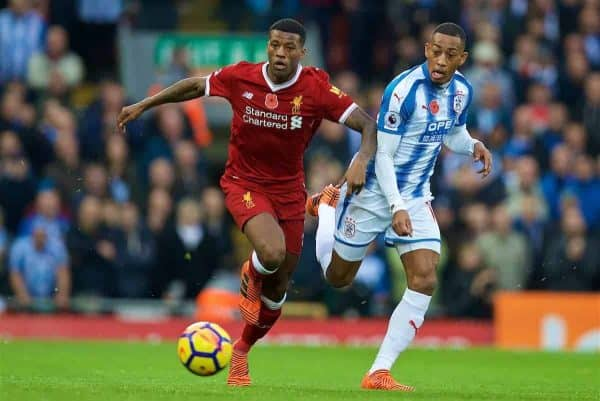LIVERPOOL, ENGLAND - Saturday, October 28, 2017: Liverpool's Georginio Wijnaldum and Huddersfield Town's Rajiv van La Parra during the FA Premier League match between Liverpool and Huddersfield Town at Anfield. (Pic by David Rawcliffe/Propaganda)