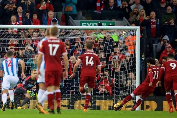 LIVERPOOL, ENGLAND - Saturday, October 28, 2017: Liverpool's Mohamed Salah sees his penalty saved by Huddersfield Town's goalkeeper Jonas Lˆssl during the FA Premier League match between Liverpool and Huddersfield Town at Anfield. (Pic by David Rawcliffe/Propaganda)
