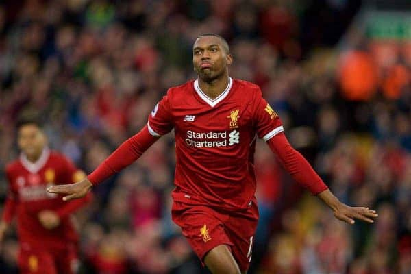 LIVERPOOL, ENGLAND - Saturday, October 28, 2017: Liverpool's Daniel Sturridge celebrates scoring the first goal during the FA Premier League match between Liverpool and Huddersfield Town at Anfield. (Pic by David Rawcliffe/Propaganda)