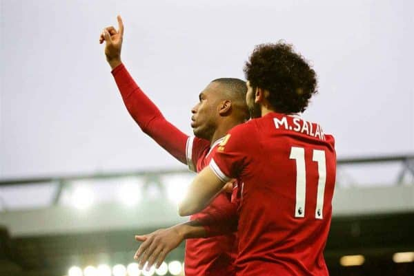 LIVERPOOL, ENGLAND - Saturday, October 28, 2017: Liverpool's Daniel Sturridge celebrates scoring the first goal with team-mate Mohamed Salah during the FA Premier League match between Liverpool and Huddersfield Town at Anfield. (Pic by David Rawcliffe/Propaganda)
