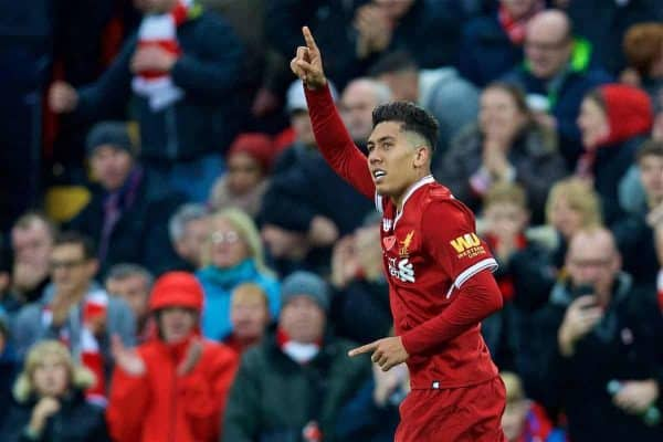 LIVERPOOL, ENGLAND - Saturday, October 28, 2017: Liverpool's Roberto Firmino celebrates scoring the second goal during the FA Premier League match between Liverpool and Huddersfield Town at Anfield. (Pic by David Rawcliffe/Propaganda)