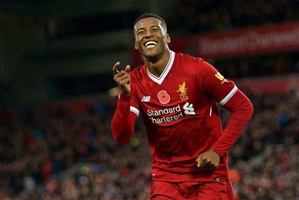 LIVERPOOL, ENGLAND - Saturday, October 28, 2017: Liverpool's Georginio Wijnaldum celebrates scoring the third goal during the FA Premier League match between Liverpool and Huddersfield Town at Anfield. (Pic by David Rawcliffe/Propaganda)