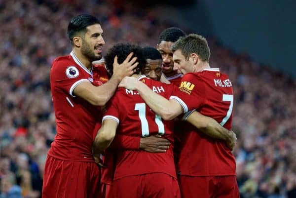 LIVERPOOL, ENGLAND - Saturday, October 28, 2017: Liverpool's Georginio Wijnaldum celebrates scoring the third goal with team-mates during the FA Premier League match between Liverpool and Huddersfield Town at Anfield. (Pic by David Rawcliffe/Propaganda)