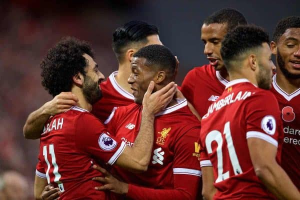 LIVERPOOL, ENGLAND - Saturday, October 28, 2017: Liverpool's Georginio Wijnaldum celebrates scoring the third goal with team-mate Mohamed Salah during the FA Premier League match between Liverpool and Huddersfield Town at Anfield. (Pic by David Rawcliffe/Propaganda)