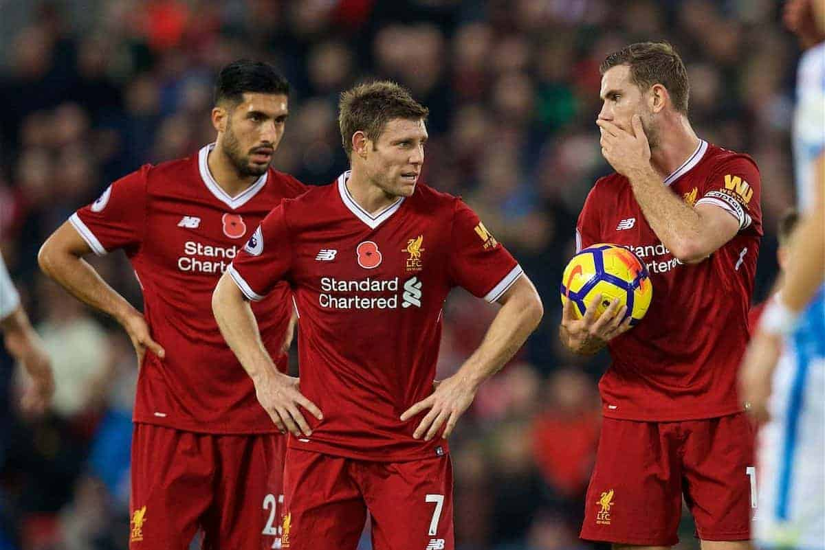 LIVERPOOL, ENGLAND - Saturday, October 28, 2017: Liverpool's captain Jordan Henderson with Emre Can and James Milner during the FA Premier League match between Liverpool and Huddersfield Town at Anfield. (Pic by David Rawcliffe/Propaganda)