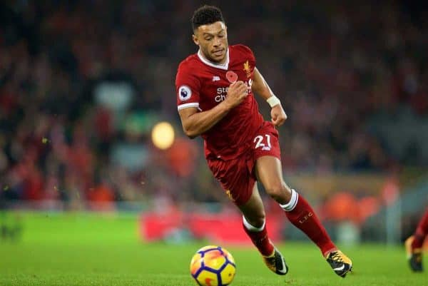 LIVERPOOL, ENGLAND - Saturday, October 28, 2017: Liverpool's Alex Oxlade-Chamberlain during the FA Premier League match between Liverpool and Huddersfield Town at Anfield. (Pic by David Rawcliffe/Propaganda)