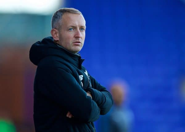 BIRKENHEAD, ENGLAND - Sunday, October 29, 2017: Liverpool's manager Neil Critchley during the Under-23 FA Premier League 2 Division 1 match between Liverpool and Leicester City at Prenton Park. (Pic by David Rawcliffe/Propaganda)
