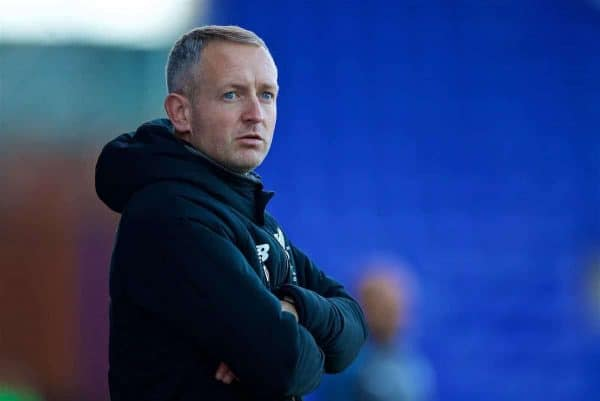 Liverpool's manager Neil Critchley during the Under-23 FA Premier League 2 Division 1 match between Liverpool and Leicester City at Prenton Park. (Pic by David Rawcliffe/Propaganda)