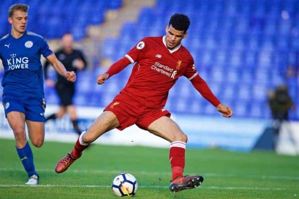 BIRKENHEAD, ENGLAND - Sunday, October 29, 2017: Liverpool's Dominic Solanke during the Under-23 FA Premier League 2 Division 1 match between Liverpool and Leicester City at Prenton Park. (Pic by David Rawcliffe/Propaganda)