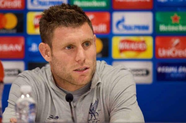 LIVERPOOL, ENGLAND - Tuesday, October 31, 2017: Liverpool's James Milner during a press conference at Anfield ahead of the UEFA Champions League Group E match between Liverpool FC and NK Maribor. (Pic by David Rawcliffe/Propaganda)