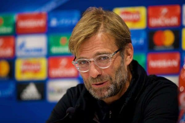 LIVERPOOL, ENGLAND - Tuesday, October 31, 2017: Liverpool's manager Jürgen Klopp during a press conference at Anfield ahead of the UEFA Champions League Group E match between Liverpool FC and NK Maribor. (Pic by David Rawcliffe/Propaganda)