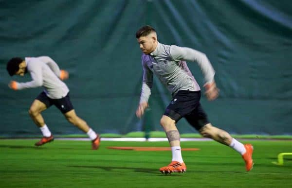 LIVERPOOL, ENGLAND - Tuesday, October 31, 2017: Liverpool's Alberto Moreno during a training session at Melwood ahead of the UEFA Champions League Group E match between Liverpool FC and NK Maribor. (Pic by David Rawcliffe/Propaganda)