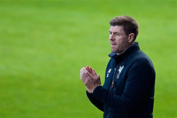 BIRKENHEAD, ENGLAND - Wednesday, November 1, 2017: Liverpool's Under-18 manager Steven Gerrard during the UEFA Youth League Group E match between Liverpool and NK Maribor at Prenton Park. (Pic by David Rawcliffe/Propaganda)