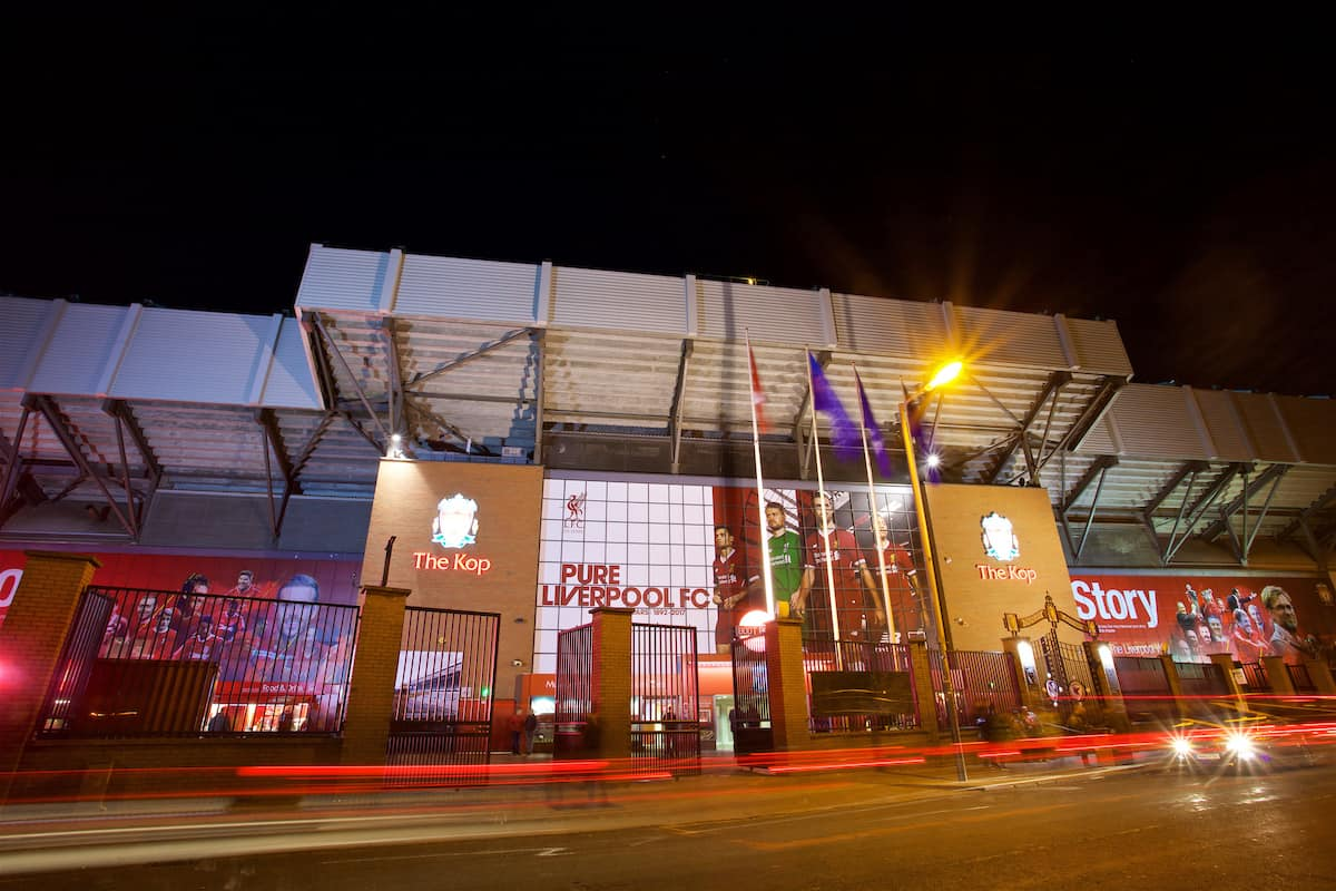 LIVERPOOL, ENGLAND - Wednesday, November 1, 2017: A general view of the exterior of the Spion Kop at Anfield before the UEFA Champions League Group E match between Liverpool FC and NK Maribor. (Pic by David Rawcliffe/Propaganda)