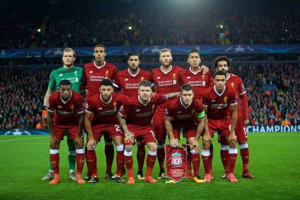 LIVERPOOL, ENGLAND - Wednesday, November 1, 2017: Liverpool players line-up for a team group photograph before the UEFA Champions League Group E match between Liverpool FC and NK Maribor at Anfield. Back row L-R: goalkeeper Loris Karius, Joel Matip, Emre Can, Ragnar Klavan, Roberto Firmino, Mohamed Salah. Front row L-R: Georginio Wijnaldum, Alex Oxlade-Chamberlain, Alberto Moreno, James Milner, Trent Alexander-Arnold. (Pic by David Rawcliffe/Propaganda)