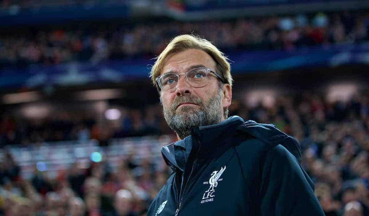 LIVERPOOL, ENGLAND - Wednesday, November 1, 2017: Liverpool's manager Jürgen Klopp before the UEFA Champions League Group E match between Liverpool FC and NK Maribor at Anfield. (Pic by David Rawcliffe/Propaganda)