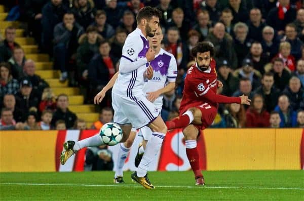 LIVERPOOL, ENGLAND - Wednesday, November 1, 2017: Liverpool's Mohamed Salah during the UEFA Champions League Group E match between Liverpool FC and NK Maribor at Anfield. (Pic by David Rawcliffe/Propaganda)
