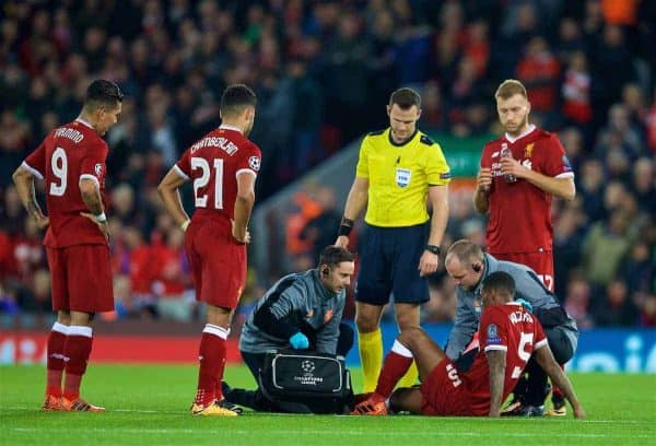 LIVERPOOL, ENGLAND - Wednesday, November 1, 2017: Liverpool's Georginio Wijnaldum goes down injured during the UEFA Champions League Group E match between Liverpool FC and NK Maribor at Anfield. (Pic by David Rawcliffe/Propaganda)