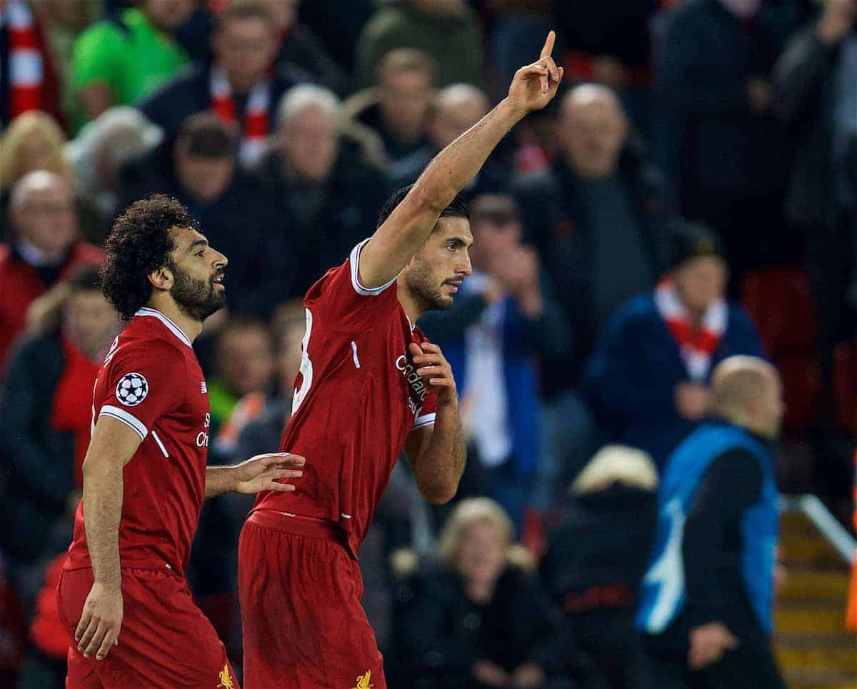 LIVERPOOL, ENGLAND - Wednesday, November 1, 2017: Liverpool's Emre Can celebrates scoring the second goal during the UEFA Champions League Group E match between Liverpool FC and NK Maribor at Anfield. (Pic by David Rawcliffe/Propaganda)