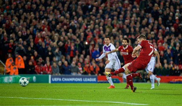 LIVERPOOL, ENGLAND - Wednesday, November 1, 2017: Liverpool's James Milner sees his penalty kick saved during the UEFA Champions League Group E match between Liverpool FC and NK Maribor at Anfield. (Pic by David Rawcliffe/Propaganda)