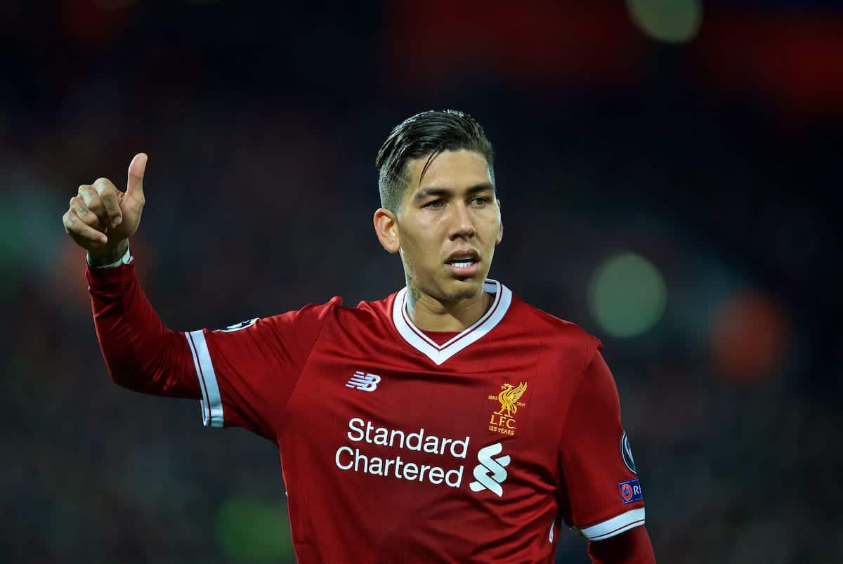 LIVERPOOL, ENGLAND - Wednesday, November 1, 2017: Liverpool's Roberto Firmino during the UEFA Champions League Group E match between Liverpool FC and NK Maribor at Anfield. (Pic by David Rawcliffe/Propaganda)