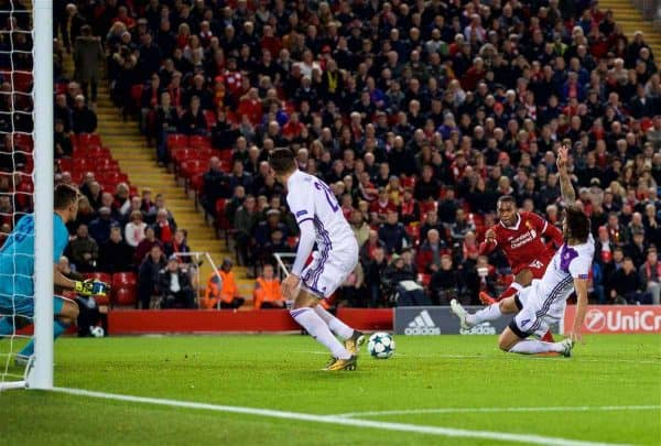 LIVERPOOL, ENGLAND - Wednesday, November 1, 2017: Liverpool's Daniel Sturridge scores the third goal during the UEFA Champions League Group E match between Liverpool FC and NK Maribor at Anfield. (Pic by David Rawcliffe/Propaganda)