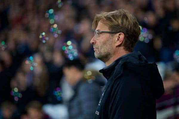 LONDON, ENGLAND - Saturday, November 4, 2017: Liverpool's manager Jürgen Klopp before the FA Premier League match between West Ham United FC and Liverpool FC at the London Stadium. (Pic by David Rawcliffe/Propaganda)